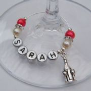 Bottle & Glasses Personalised Wine Glass Charm - Elegance Style